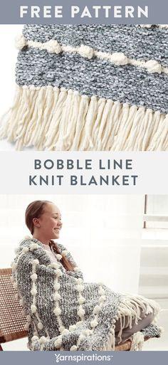 Free Bernat Bobble Line Knit Blanket pattern using Bernat Velvet yarn. Two strands of silky Bernat Velvet are combined to create a luscious marled effect that is strikingly offset against thinner stripes of plush Bernat Blanket bobble-stitches in this luxurious blanket! #yarnspirations #freeknitpattern #knitblanket #knitthrow #knitafghan #bobbleblanket #bobblethrow #bobbleafghan #bobblestitch #knitbobbles #bernatyarn #bernatvelvet Baby Afghan Crochet, Crochet Blanket Patterns, Crochet Yarn, Knitting Patterns Free, Knitting Yarn, Free Knitting, Baby Afghans, Knot Blanket, Blanket Yarn