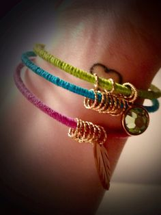 Colorful Charm Bracelets by SummersHue on Etsy, $10.00