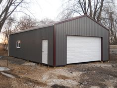 """Building Dimensions: 24' W x 40' L x 10' 4"""" H (ID#: 420) 24' Standard Trusses, 4' on Center, 4/12 Pitch, For More Details: http://pioneerpolebuildings.com/portfolio/project/24-w-x-40-l-x-10-4-h-id-420-total-cost-contact-us"""