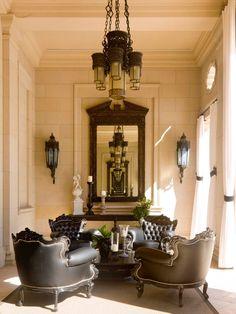 Glamorous Villa Design with Italian Style: Cozy Mediterranean Famlily Room Italiannate Villa Antique Furniture