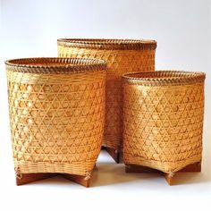 Papierkorb Abfallbehälter Bast Holz 3 Stück Set stapelbar