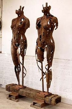 'Two Shells' (1994) by British sculptor Peter Burke (b 1944). 200 x 130 x 80 cm…