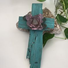 OOAK Wall Cross made from old farm produce crates aged by use and weather. Turquoise paint wash n a painted desert Rose flower center is made from old Rusty pieces of old metal w a piece of desert Sea Glass, found out in the desert. Desert Flowers, Desert Rose, Gypsy Decor, Shabby Chic Decor, Light Pink Paint, Painted Desert, Rustic Cross, Turquoise Painting, Christian Decor