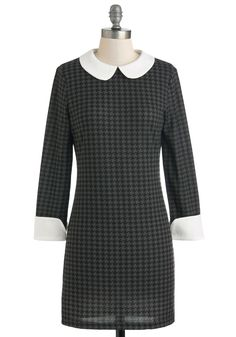 Highly Skilled Style Dress - Short, Black, Grey, White, Houndstooth, Work, Sheath / Shift, Long Sleeve, Winter, Collared, Peter Pan Collar, Vintage Inspired, Mod, Scholastic/Collegiate