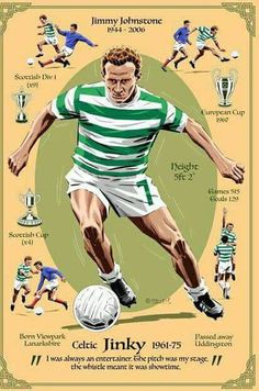 Jimmy Johnstone of Celtic in Football Art, Vintage Football, Celtic Fc, European Cup, Football Players, Glasgow, The Past, Sports, Soccer
