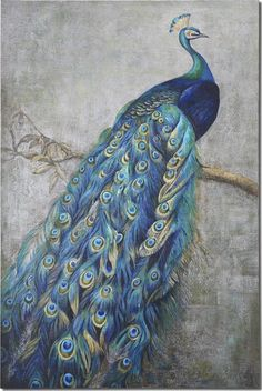 This 6 tall by 4 wide peacock art displays vibrant shades of turquoise blue mixed with greens and yellows in this hand painted artwork on burlap applied to hardback board Peacock Canvas, Peacock Wall Art, Peacock Painting, Peacock Decor, Oil Painting Abstract, Hand Painting Art, Abstract Art, Peacock Pics, Peacock Room