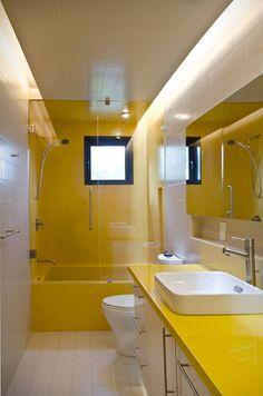 Bathroom without windows, vasque design, bathroom interior design Yellow Bathroom Decor, Yellow Bathrooms, Bathroom Colors, Bathroom Ideas, Gold Bathroom, Bathroom Without Windows, Inside A House, Yellow Tile, Mold In Bathroom