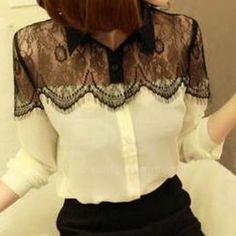 Blouse white & black lace on the top size M Very fashion blouse Tops Blouses