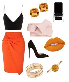 """""""Untitled #33"""" by kacenka12 on Polyvore featuring Miss Selfridge, Alex Perry, Christian Louboutin, Ted Baker, Effy Jewelry, Mudd, Context, orangeoutfit and popsoforange"""