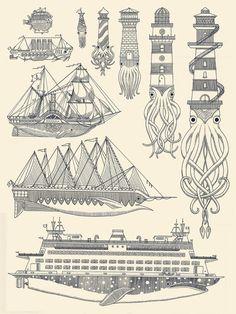 Postmodern Nautical Print tat idea