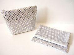Sequin Clutch - Sequin Bag - Sequin Makeup Bag - Bridesmaid Gift - Silver Confetti Dots - Metallic Silver Clutch - Sequin Fold Over Clutch by SewSouthwest on Etsy