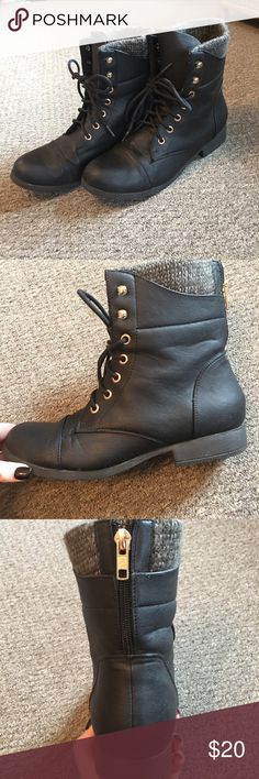 Combat boots Black combat boots from Charlotte Russe, has some scuffs on bottom of shoe from being worn, long laces if you want to lace the boot up and also great gold detail! Charlotte Russe Shoes Combat & Moto Boots