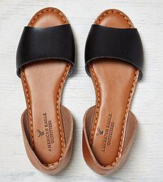 Black AEO Colorblocked Peep Toe Flat