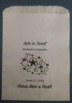 Patriotic Wedding Inspiration STYLIZED SHOOTING STAR DESIGN GLASSINE LINED PERSONALIZED DESSERT BUFFET FAVOR BAG