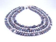 Gray Freshwater Pearl Necklace Five Strand by ChristinesJewelry, $60.00