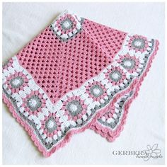 Crochet baby blanket girl - Cottage style - gray pink and white