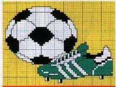 toalha de banho para menino motivo futebol em ponto cruz - Pesquisa Google Cross Stitch Charts, Cross Stitch Designs, Cross Stitch Patterns, Vbs Crafts, Crafts To Do, Cross Stitching, Cross Stitch Embroidery, Sewing Stitches, Boy Art