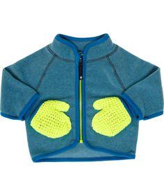 Molo mooi blauwgrijze baby fleece met fluo wantjes. molo.nl.emilea.be