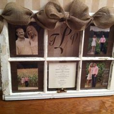 Ideas wedding gifts diy frame old windows for 2019 Old Window Frames, Window Art, Window Panes, Window Frame Ideas, Photo Window, Old Window Projects, Craft Projects, Do It Yourself Organization, Wood Crafts