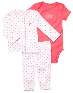 Carters 3 Pc Cardigan Set  Printed White Poppy 9 Months -- More info could be found at the image url.
