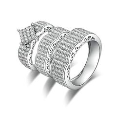 Daesar Wedding Band for Women Sterling Silver Ring Braided Chain with Cz Red//Black Ring Size