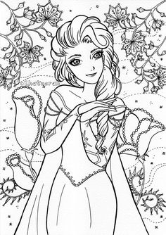 Free Adult Coloring Pages, Cartoon Coloring Pages, Colouring Pages, Coloring For Kids, Coloring Sheets, Coloring Books, Pencil Sketches Of Girls, Pinterest Diy Crafts, Golden Design