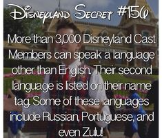 Disneyland Secret More than Disneyland Cast Members can speak a language other than English. Their second language i listed on their name tag. Some of these languages include Russian, Portuguese, and even Zulu! Disney Nerd, Disney Tips, Disney Memes, Disney Quotes, Disney Magic, Disney Trivia, Punk Disney, Disney Planning, Princess Disney