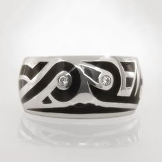 Platinum and Black Enamel Mens Custom Design Ring