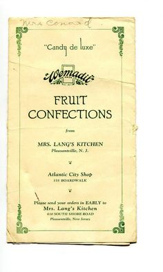 MRS LANGS KITCHEN WEMADIT FRUIT CONFECTIONS brochure Pleasantville NJ candy