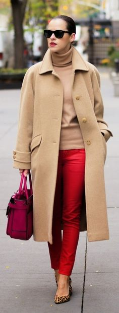 A trifecta of chic Winter style perfection: camel, red, and leopard.   Via bittersweetcolours.blogspot.com