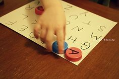 Letter matching using milk caps #wonderful