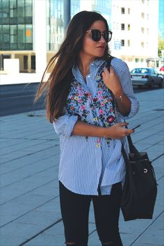 outfit to #work wearing striped embroidered shirt, jeans and silver shoes
