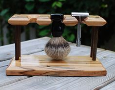 Shaving Stand for 2 Safety Razors and Badger Brush, Ambrosia Maple Wood