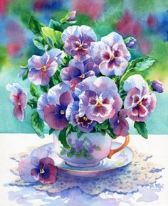 Pansy Cup...love water color :)
