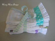 DIY Burp Cloth-the ruffle is made with ribbon too.