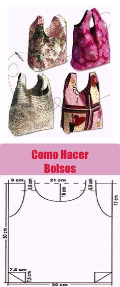 Bolso Con patrones - Tr Tutorial and Ideas Sewing Hacks, Sewing Crafts, Sewing Projects, Bag Patterns To Sew, Sewing Patterns, Easy Diy Crafts, Learn To Sew, Clothing Patterns, Bag Making