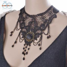 Lace Beads Choker Steampunk Style Gothic Collar Necklace