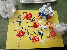 Painting with crumpled paper, wax paper, foil, plastic wrap, etc