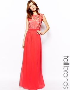 Little Mistress Tall Lace Top Maxi Dress $123.85