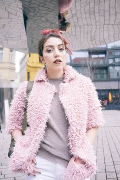 Pink fuzzy jacket by SheIn + textured top from Zara. Awesome ways to wear pink hair and more style by www.MARINASAYS.com (@marinasays)