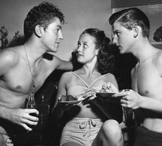 Farley Granger, Jane Powell, and Roddy McDowell. Old Hollywood pool party.