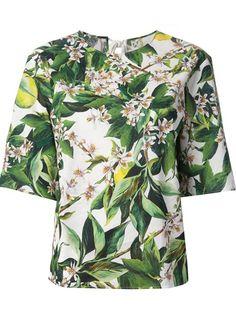 Dolce and Gabbana Foliage Print Blouse