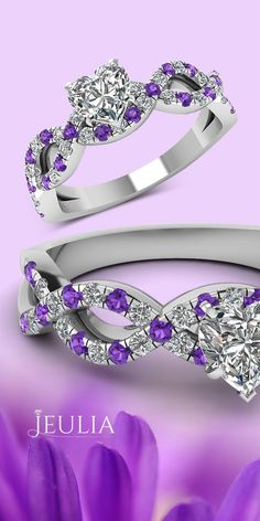 Precious Heart Cut Created White Sapphire with Amethyst Sidestone Rhodium Plating Sterling Silver Women's Ring  #Jeulia