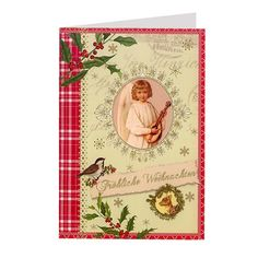 """Musical Angel Christmas Card from Germany - """"Frohliche Weihnachten"""" is printed on the front which means Merry Christmas in German."""