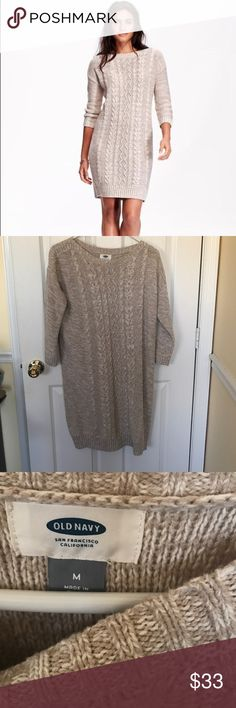 Cable Knit Sweater Dress Brand new with tags, size medium, 3/4 sleeve sweater dress with cable knit design down the front, hits just above the knees (I'm 5'5) cream in color. I can't model as I am currently 5 months pregnant. No trades or non poshmark transactions, offers considered thru the offer button only please. Old Navy Dresses Midi