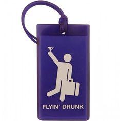 Amazon.com: Flight 001 Flyin' Drunk Luggage Tag - Purple: Clothing