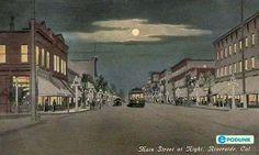 Riverside-CA | Riverside postcard post card - Main Street at night, Riverside, CA
