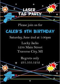 Laser Tag Birthday Invitation - Laser Tag Invitation