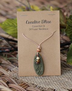 Essential Oil Diffuser Necklace | Handmade Necklace | Clay Pendant | Diffuser Jewelry | Aromatherapy | Khaki Green & Brown Diffuser Necklace by DeAnnasCreativeBliss on Etsy