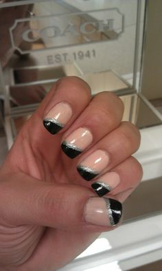 Nude, black, and silver nail design BY Me :) Angela Kienzle